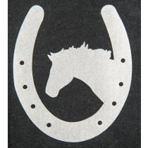 Bügelmotiv Hufeisen mit Pferd